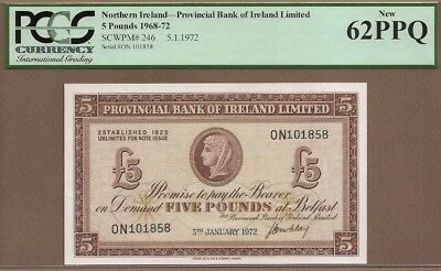 IRELAND-NORTHERN: 5 Pounds Banknote,(UNC PCGS62),P-246,05.01.1972,No Reserve!