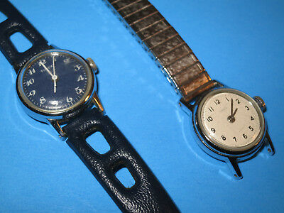Pair of Vintage Timex Women's wrist watches-Chrome plated metal Bezel