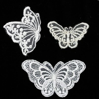 Venise Embroidered Lace Butterfly Motifs Col: White , Light Gold