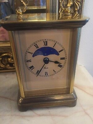 carriage clock With Moon Phase Brass Case Working