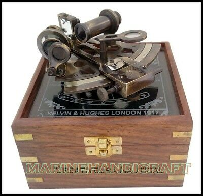 "6""Nautical Maritime Victorian Travelling Brass Sextant with Glass Top Wooden Box"