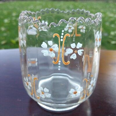 Vintage Clear Glass Posy Vase enameled hand-painted white and orange flowers