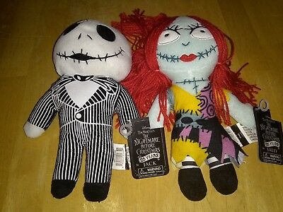 New Set of The Nightmare Before Christmas Jack & Sally Plush Dolls 9 inch Tags