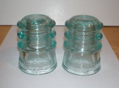 WHITALL TATUM Vintage Glass Insulators NO. 3 - 2 each