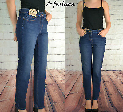 Next Tagged £35 Ladies Figure Shape Dark Blue High Rise Jeans Regular, Long, 424