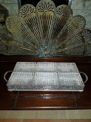 Vintage Pierced Silver Plated hors d'oeuvres Tray with Handles and Glass Dishes