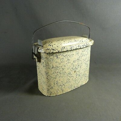 Antique Vintage French Enameled Graniteware Cream & Blue LUNCH PAIL LUNCH BOX