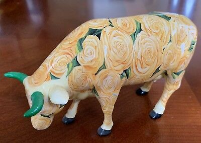cow parade cows figurines item 9165 Yellow Rose Of Texas Ceramic No Box