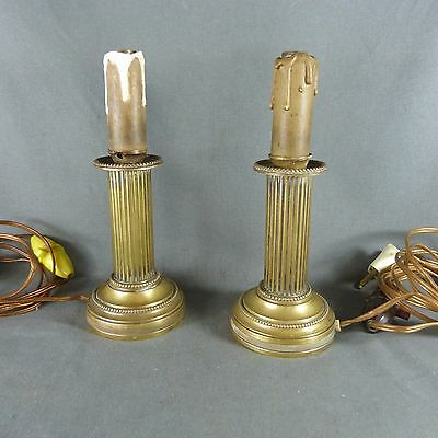 French Antique Pair of Bronze Candlestick Electrified Candle Holder 2nd Empire