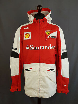 Puma FERRARI F1 Official Team Racing Jacket Hood Logo Santander Mens Size XL