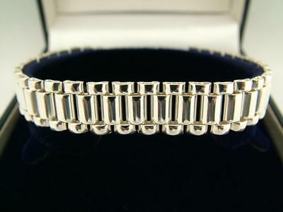 LONDON HALLMARKED SOLID 925 STERLING SILVER GATE BRACELET TGCC 15g
