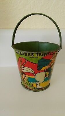 Vintage Antique J. Chein Tin Litho Child's Sand Pail Bucket - Gulliver's Travels