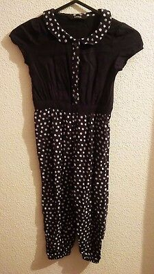 Girls Navy with white spots jumpsuit age 2-3 years excellent condition