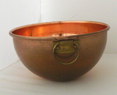 """Vintage Copper Mixing Bowl Round Bottom w/Brass Handle CULINAIRE 7-1/4"""" W"""