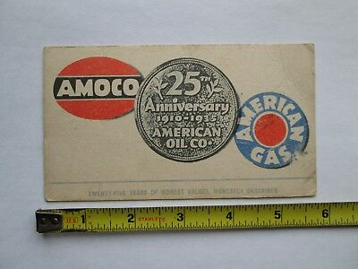 Vtg 1935 Amoco Oil American Gas Co 25th Anniversary Ink Blotter ?  Not Sign Can
