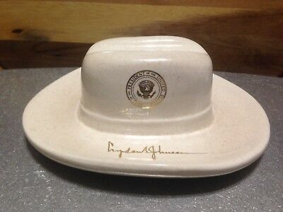 1964 Lyndon Johnson Cowboy Hat Shaped Ceramic Ashtray