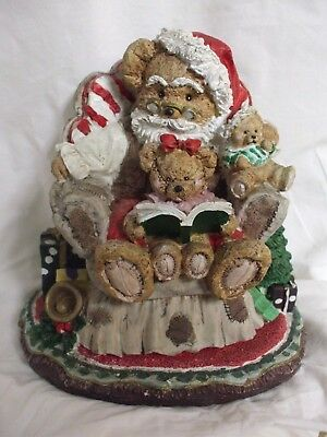Vintage Christmas Santa Bear with Baby Bears Music Box (Like Boyds Bears)