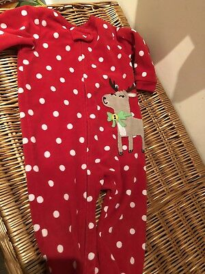 Carters Reindeer Fleece All In One Sleepsuit Christmas 12 Month Boy Girl Cute!