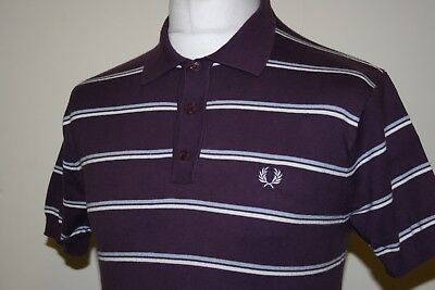 Fred Perry Blackcurrant/Ice/White Knitted Vintage Polo Shirt M RARE Excellent