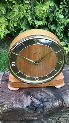 Beautiful Antique Vintage Kienzle Wooden Mantle Clock With Brass Numbers *