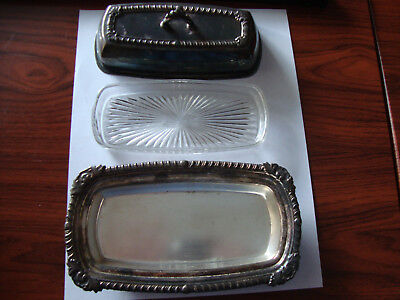 Vintage Pilgrim 73 Silverplate Butter Dish With Glass Tray