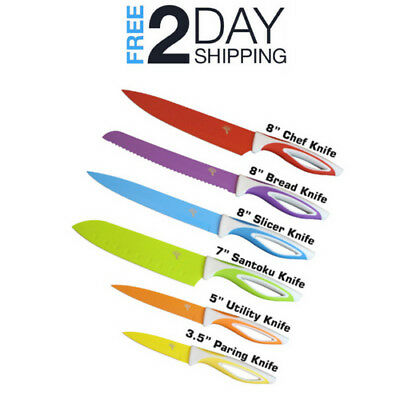 Colorful Kitchen Knife Set Paring Knifes Sets - with Magnetic Strip, Sharpen