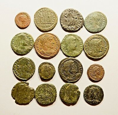 Lot Of 16 Imperial Roman Bronze Coins For Identifying - 057