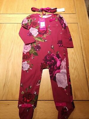 Girls Ted Baker Sleepsuit with matching headband  12-18 Months (New With Tags)