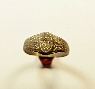 Scarce Byzantine Period Bronze Finger Ring With Cross On Bezel - Wearable