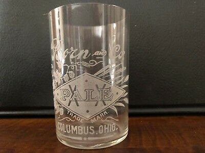 Pre-Prohibition Born & Co. Brewery Columbus, OH Etched Beer Glass