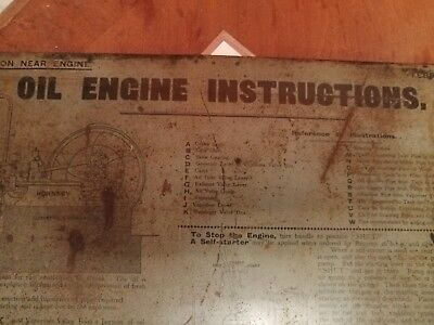 Richard Hornsby Oil Engine  Instructions Sign