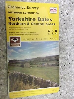 Ordnance Survey Outdoor Leisure Map Yorkshire Dales Northern &Central areas.