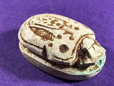Circa 715-332Bc - Ancient Egyptian Stone Scrab Featuring Cartouche & Hieroglyphs