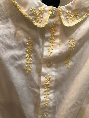Antique Hand Embroidered Child Baby Girl Dress White Cotton Linen