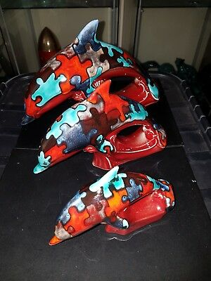 Poole Pottery Set Of Puzzle Dolphins Perfect & Extremely Rare