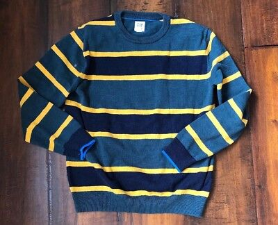 Gap Kids Boys Green And Yellow Rugby Striped Crewneck Sweater Size XXL EUC