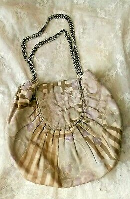 Antique 1930's Block Print Reticule, Purse, Possibly Sewing Bag