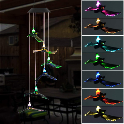 Solar Wind Chime Outdoor Bat LED Changing Light Color Wind Chime Halloween Decor