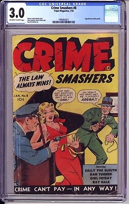 Crime Smashers #8 Cgc 3.0 Oww Pages  Gga Cover, Hypodermic Needle Panels