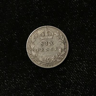 1907 6 PENCE - GREAT BRITAIN *GREAT OLD BRITISH SILVER - EDWARD VII - Lot#A767