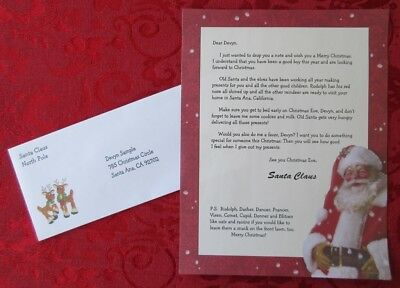 Personalized Letter From Santa Claus on Red Santa Big Belt Theme Paper