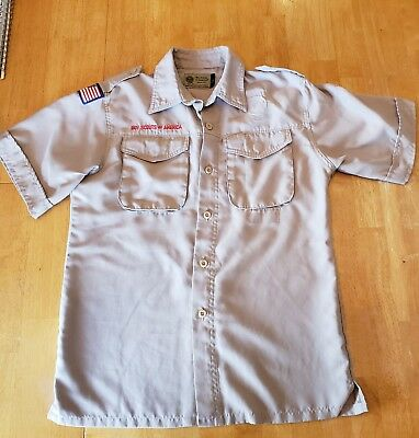 BSA  Boy Scout Uniform Shirt Youth LARGE SS 100% Polyester