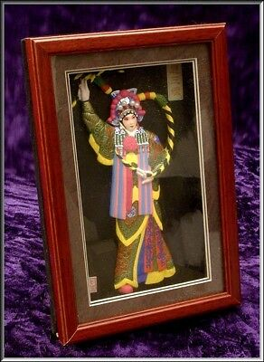 HandCrafted HERITAGE CULTURE Chinese Opera Mask Figure Shadow Box Wall Decor
