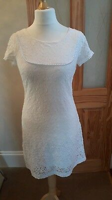 Monsoon ladies white ivory stretch lace tea style dress uk 12 Vgc