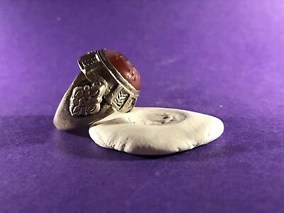 Circa 16Th Century Post Medieval Solid Silver Ring With Deer Seal Very Wearable.