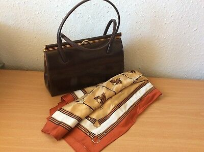 Vintage Brown Handbag/Leather interior - 'Harmony' made in England- with scarf