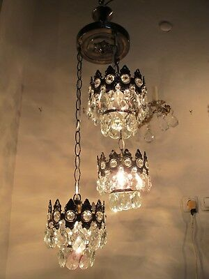 Antique French Basket Style Crystal Chandelier Lamp 1940s
