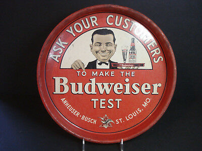 Vintage Ask Your Customers Budweiser Test Beer Tray Original 1940's