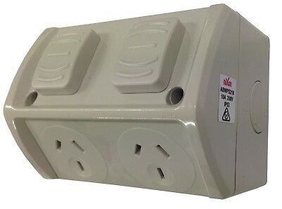 Weatherproof 10 AMP Double Power Point Outlet Socket GPO Water Proof External
