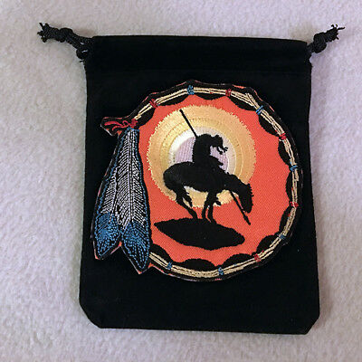 Embroidery Black Velvet Pouch End of the Trail Native American Style Large Craft